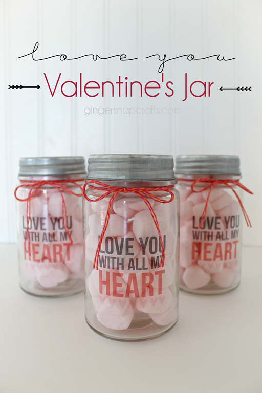 Love You Valentine's Jar at GingerSnapCrafts.com #Valentine #printandcut #Silhouette