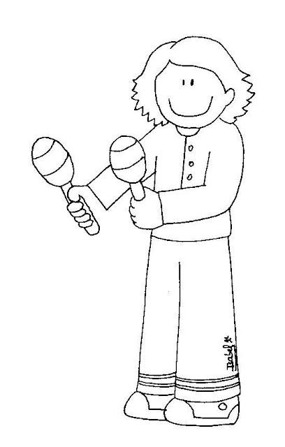 Dibujos Para Pintar Niños Tocando Instrumentos Musicales