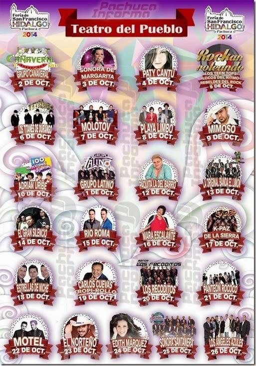 Feria de Pacuca Hidalgo 2014 Teatro del Pueblo Conciertos Cartelera Eventos