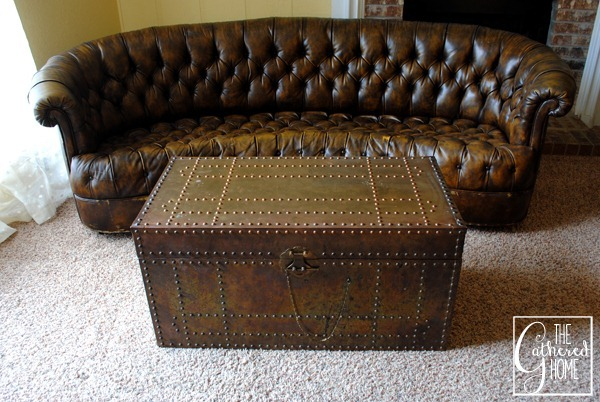 vintage brass trunk