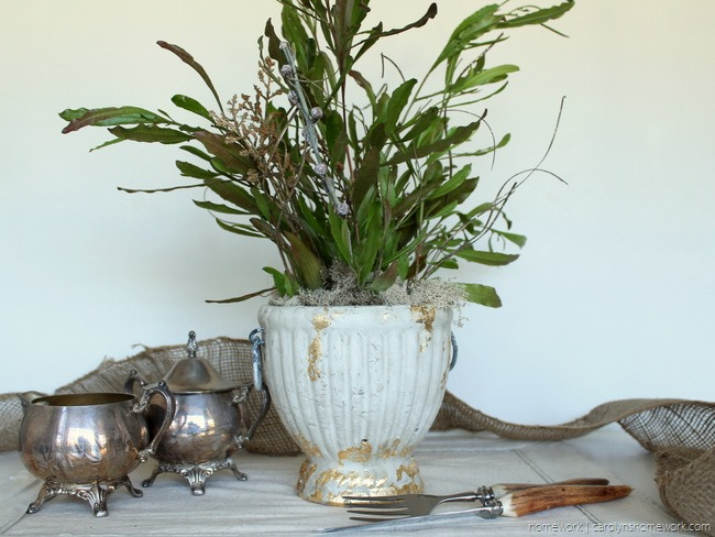 Gold Leaf Concrete Planter via homework | carolynshomework.com