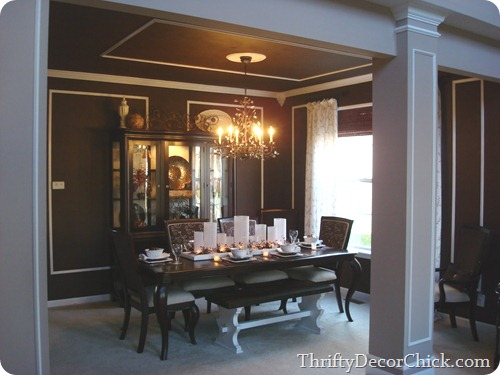 chocolate brown dining room