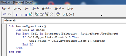 Twig's Tech Tips: Excel: Easily convert hyperlinks to text showing