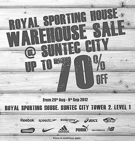 ROYAL SPORTING HOUSE WAREHOUSE SALE 2012 SINGAPORE NIKE ADIDAS PUMA REEBOK ASICS SPEEDO SAUCONY NEW BALANCE SPORT shoes, apparel accessories VANS IPANEMA SUNTEC CITY STORE