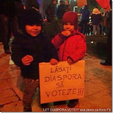 kids hold sign 'lasati diaspora sa voteze!!!' or 'let diaspora vote!!!'
