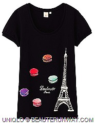 UNIQLO UT Laduree Macarons Singapore ladies t-shirts Spring Summer 2013 collection French patisserie delicious  macarons, confectioneries, Paris Eiffel Tower, tres chic Parisian culture pop art designs Chic French poodle ION Orchard
