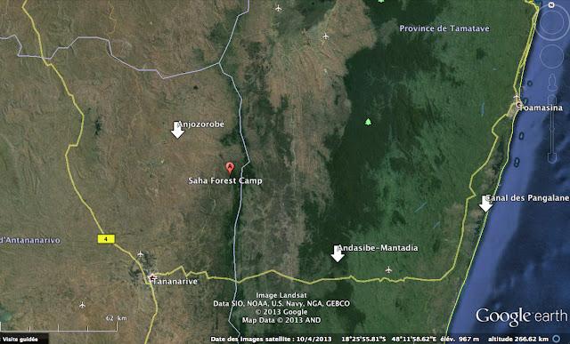 Carte Google (Madagascar Est) : Tananarive, Anjorobe et Andasibe