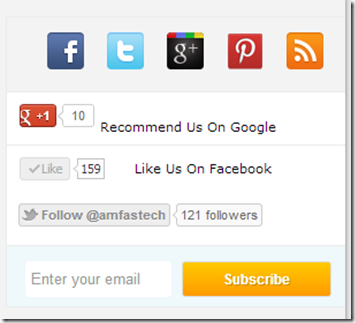 Stylish social bookmarking & subscription widget
