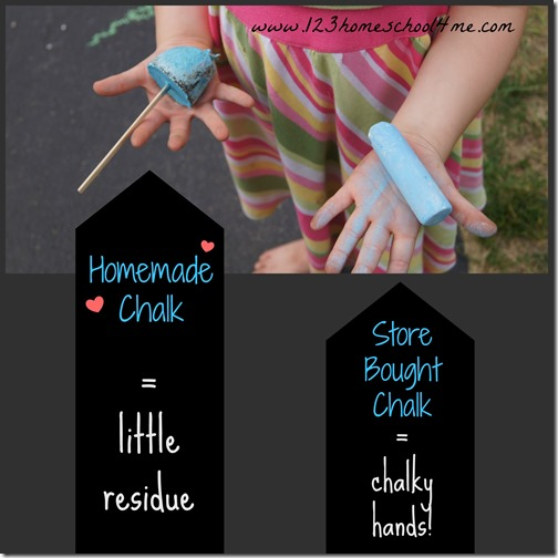 homemade chalk makes little to no mess on hands
