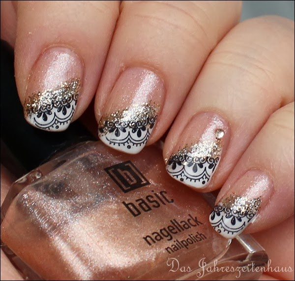 0 French Nail Art Baroque Gold Glitter 5