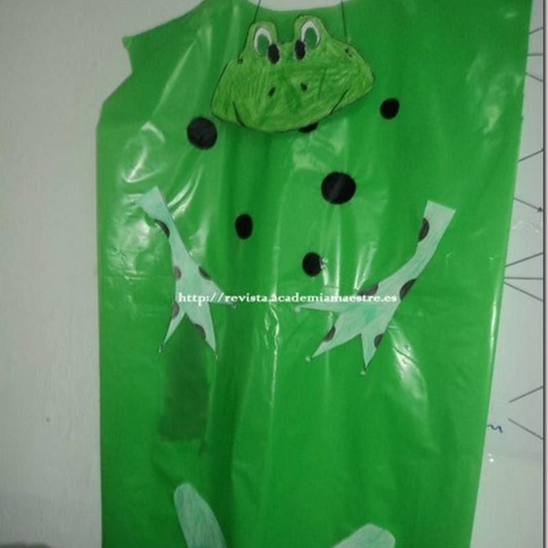 Disfraz de rana hecho con bolsa de basura