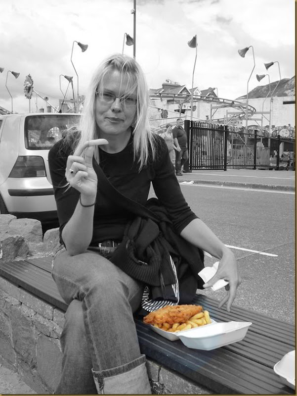 Vera models fish and chips