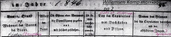 Heading for Wilmsen Kamp Marriage Nov 1846