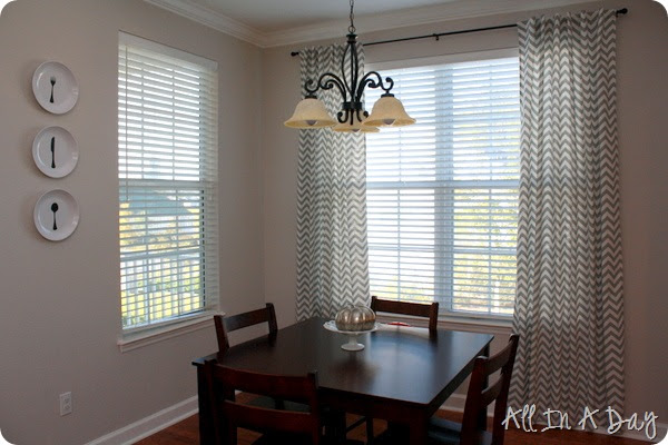 All In A Day: DIY Tabbed Back Chevron Curtains