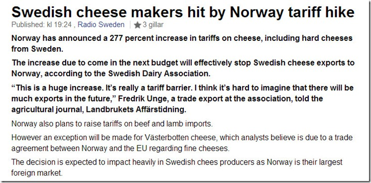 Norway cheese tarif