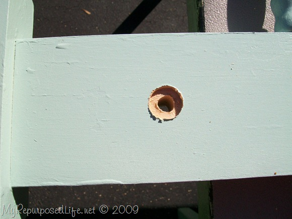 drill a hole for the wooden dowel