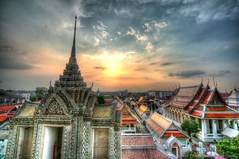 Wat Arun temple sunset Bangkok Thailand from top level