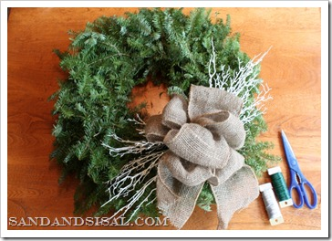 Fresh fir wreath with burlap bow