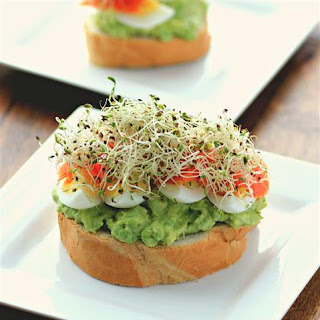 Open Faced Egg Avocado Smoked Salmon Sandwich.