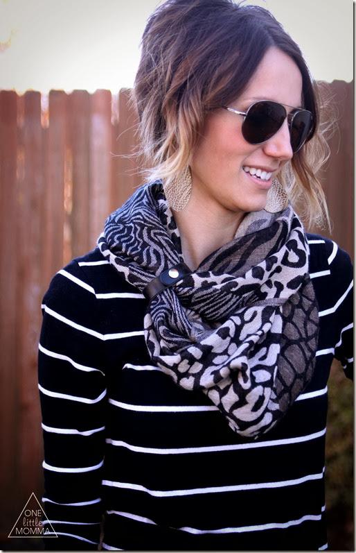 Wear a leather cuff from ONE ltitle BELT as a scarf accessory- www.onelittlebelt.com