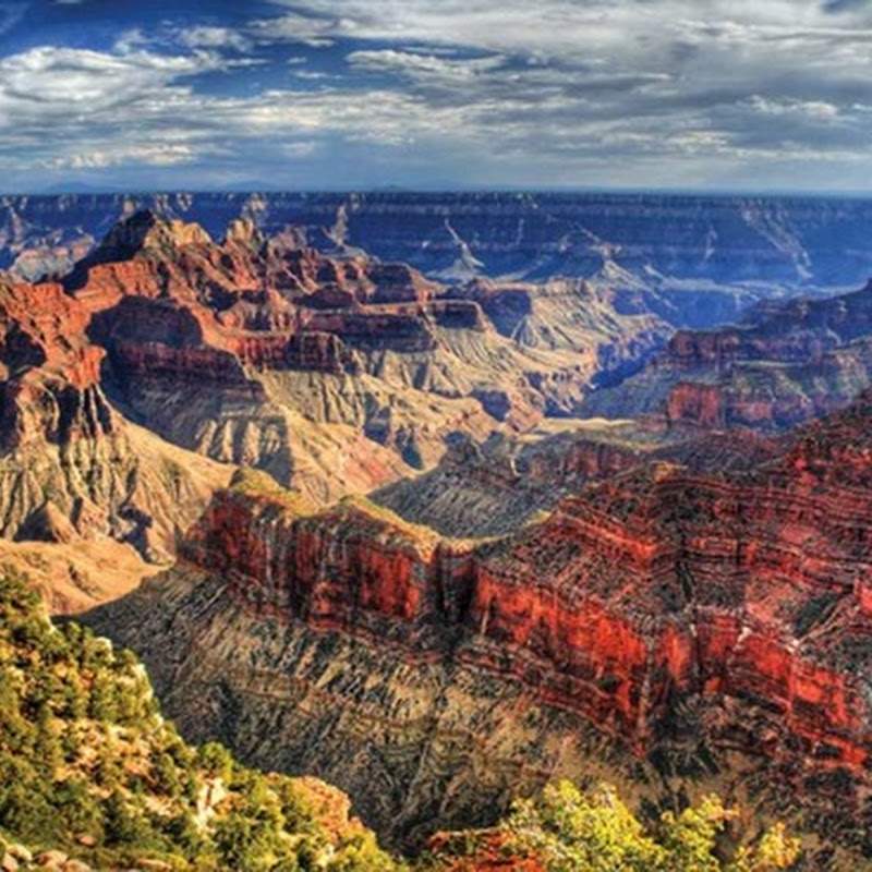 The Grand Canyon is a huge fissure in the Colorado Plateau that exposes uplifted Proterozoic and Paleozoic strata.