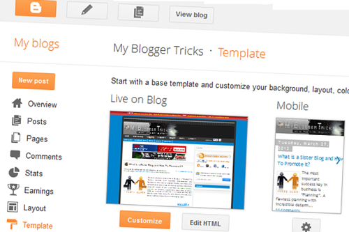 blogger upgraded interface