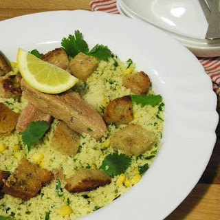 Coriander Couscous with Tuna Fillets, and Garlic and Oregano Croutons.