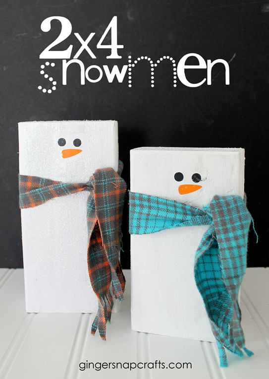 2x4 Snowmen Tutorial at GingerSnapCrafts.com #gingersnapcrafts #tutorial