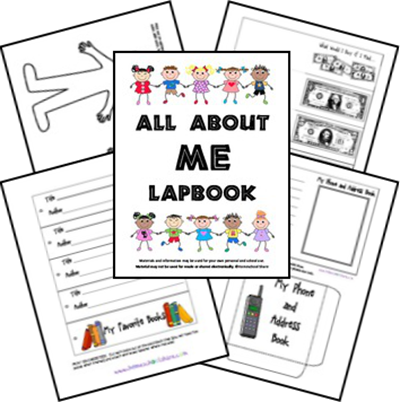 FREE! All About Me Lapbook - cute worksheets for back to school preschool, kindergarten, 1st grade