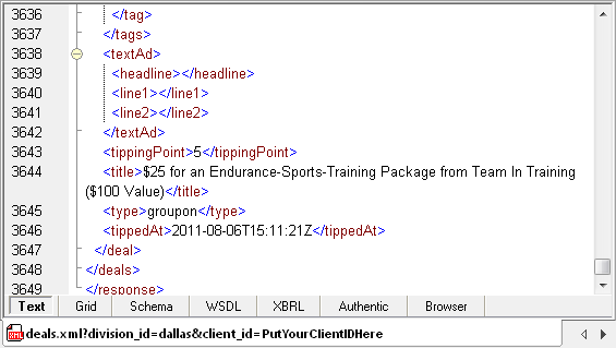 Example from the response to a Groupon /deals query, shown in XMLSpy