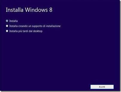 Windows 8 installazione opzioni