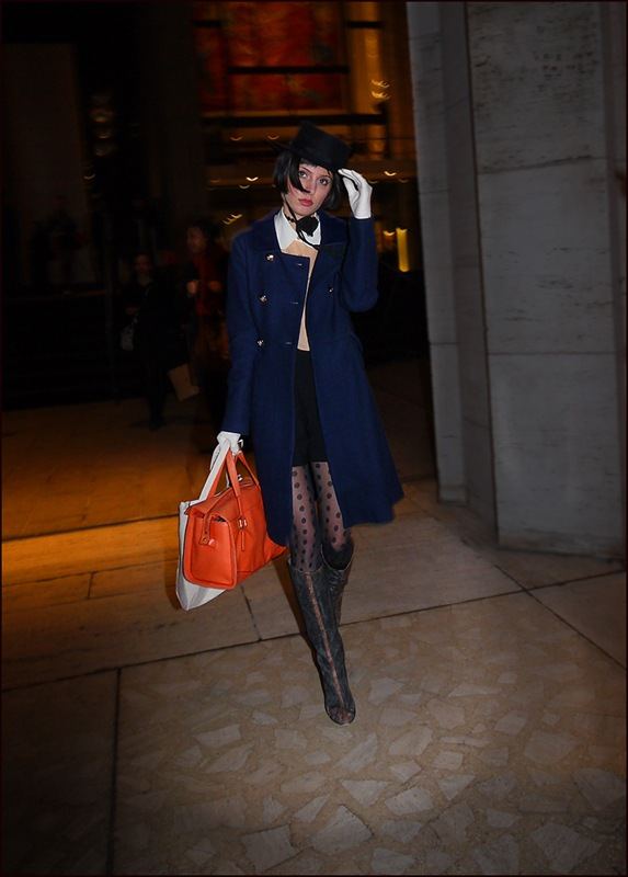 w blue dbl breasted long coat black mini polka dot stockings knee high boots orange back white gloves gaucho hat ol