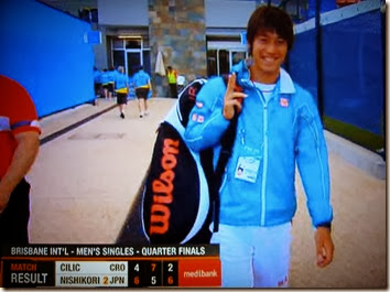 Kei Nishikori leaving the site