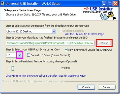 Universal USB Installer indicare iso Linux