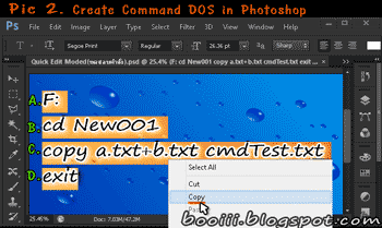 P2. Create command DOS in Photoshop.