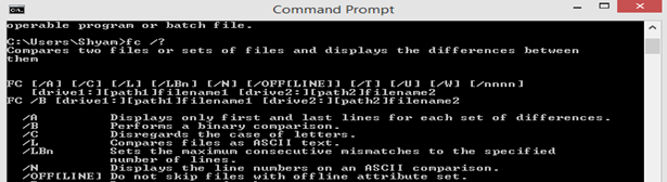 FC Command prompt