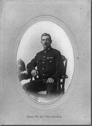 Help Wanted<br />P.C. 981 Sydney Bell. West Hartlepool.<br /><br />I am in possession of this and several other photographs of P.C. Sydney Bell but to my chagrined I can't recall from I got them.<br />Can anyone out there enlighten me regarding the history of this officer and details of his career please .I'm afraid  my memory isn't what it used to be!<br /><br />Alan S. Watson  Editor of Durham Peeler magazine