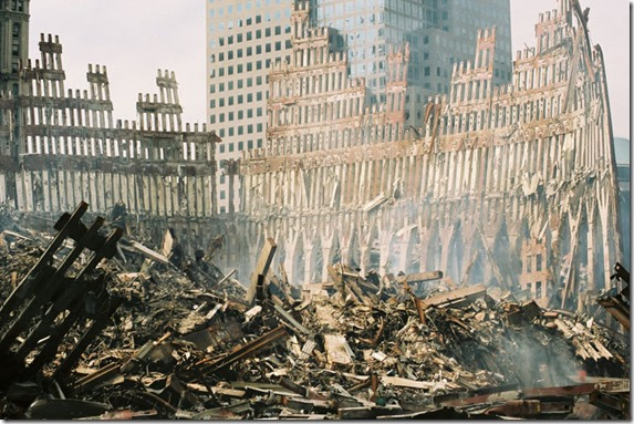 WTC-Wreckage-exterior_shell_of_south_tower - Public Domain