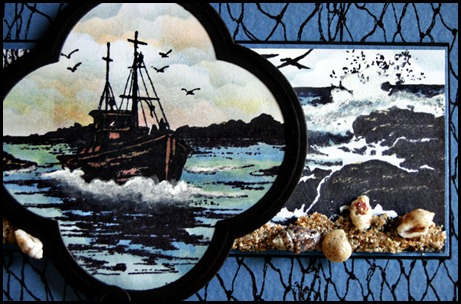 Our Daily Bread designs, The Waves on the Sea, Fishing Net BG, The Mighty Sea, Quatrefoil Design die, Mudd Puddles