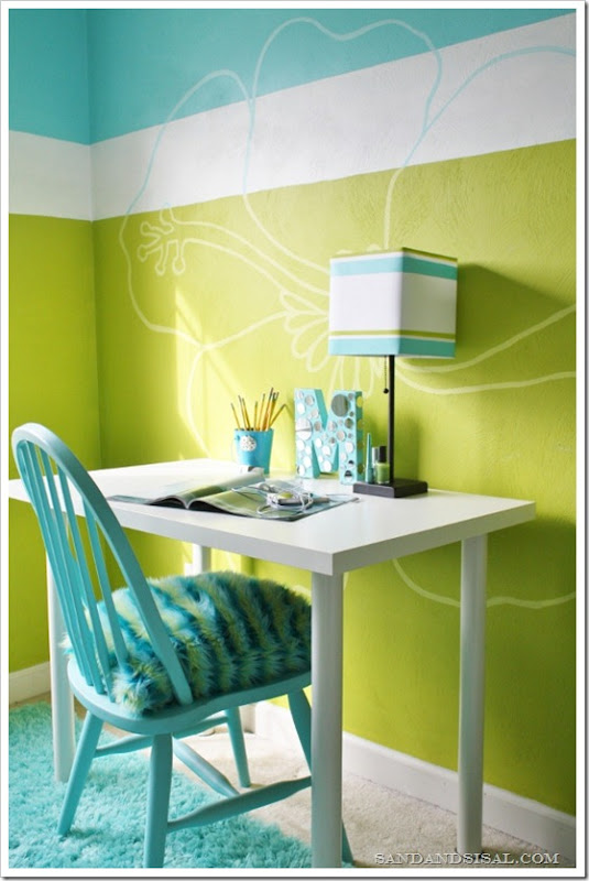 amusing green turquoise bedroom | Mirrored Letter Craft - Sand and Sisal
