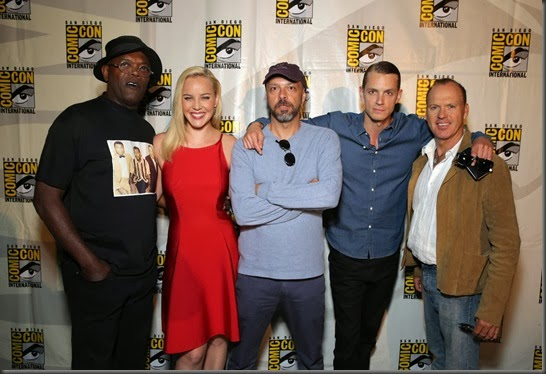 Samuel L. Jackson, Abbie Cornish, Director Jose Padilha, Joel Kinnaman and Michael Keaton seen at Sony Pictures Presentation at 2013 Comic-Con, on Friday, July, 19, 2013 in San Diego, Calif.