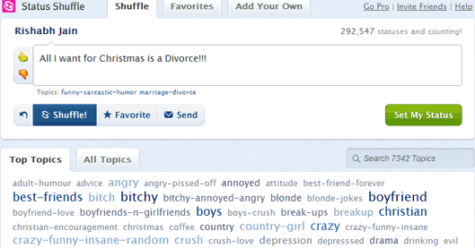Shuffle Facebook Statuses For Best Status Impression