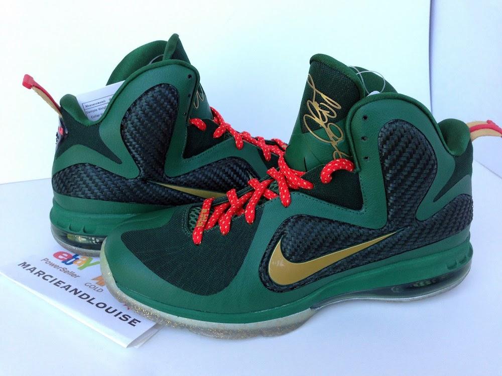 online store ec91d 7485f ... Nike LeBron 9 Alternate Green Christmas Promo Sample ...