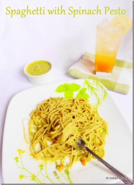Spaghetti with Spinach Pesto Recipe