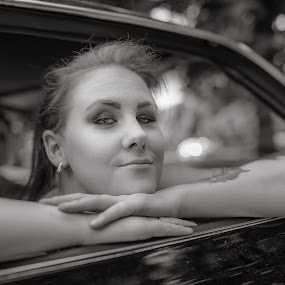| who looks | by Photo Jovan - People Portraits of Women ( car · black and white, women, eyes,  )