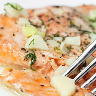 Baked Salmon with White Wine Dill Sauce.