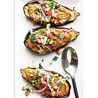 Falafel-Stuffed Eggplant with Tahini Sauce and Tomato Relish
