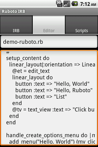 Ruboto IRB (Ruby on Android) - screenshot