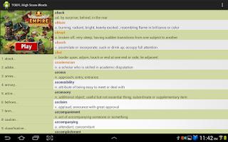 Screenshot of TOEFL High Score Words