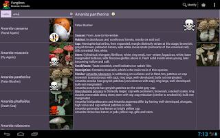 Screenshot of Fungitron - mushroom guide